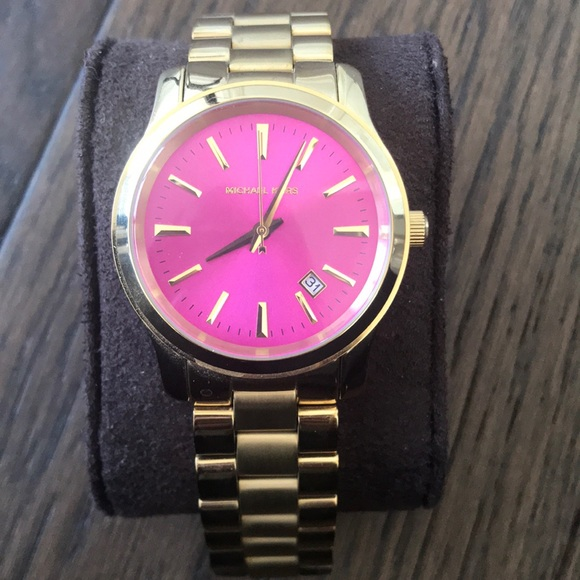 Michael Kors watch with hot pink face